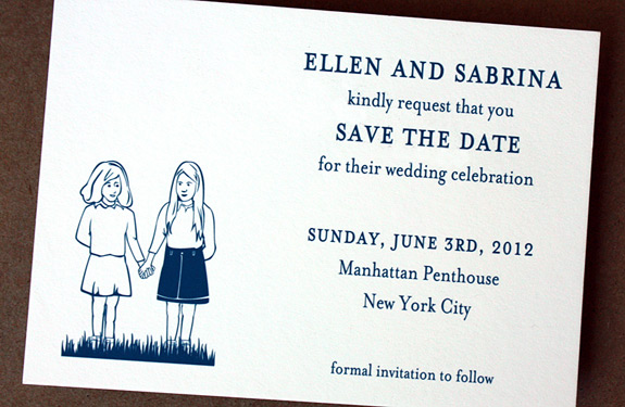 Ellen and Sabrina: sweet custom illustration of couple when they first met, digitally printed save the date