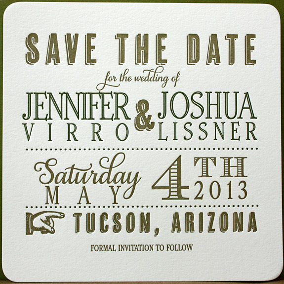 Jennifer and Joshua: letterpressed save the date with vintage font collection, square with rounded corners