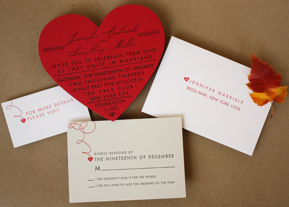 Jennifer and LeeRoy: this whimsical wedding suite includes a die cut heart on red paper, letterpressed