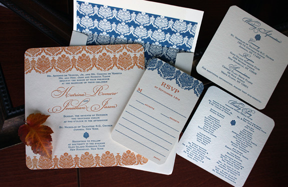 Katrina and Jonathan: 2 color letterrpressed invitation suite with rounded corners and patterned liner
