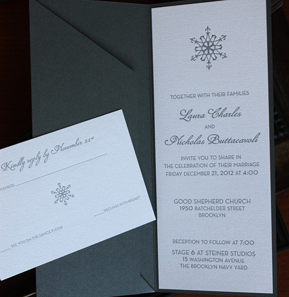 Laura and Nicholas: letterpressed in #10 folder with modern snowflake motif
