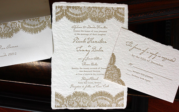 Nicole and Tommy: Sutton Place suite with vintage lace pattern and deckle edged paper
