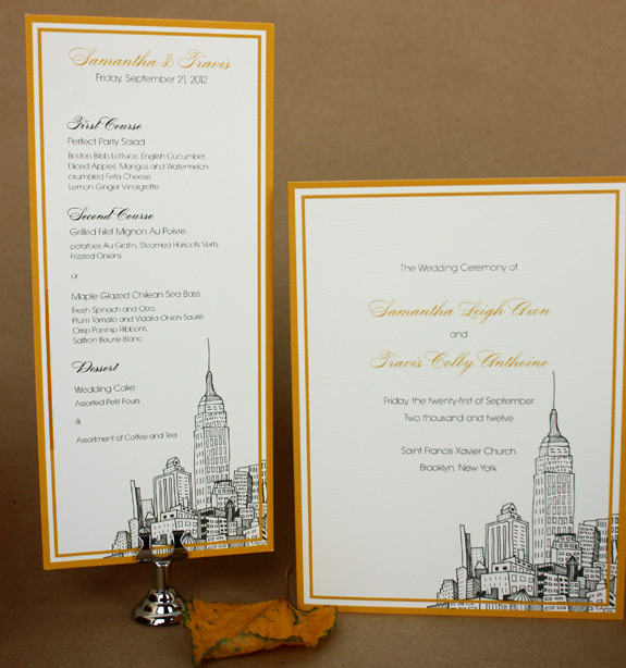Samantha and Travis: menu and program with NYC motif