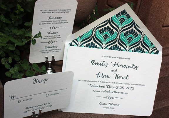 "Emily and Idan: one color letterpress wedding suite with rounded corners and ""peacock"" liner"