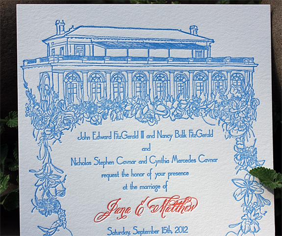 Jane and Matthew: custom illustration of Prospect Park Boathouse letterpressed in cobalt blue and fluorescent orange