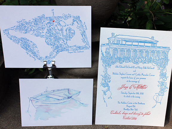 Jane and Matthew: custom illustration of Prospect Park Boathouse letterpressed in cobalt blue and fluorescent orange with digitally printed double sided direction card (map on back shown) and reply card (custom rowboat watercolor on back shown)