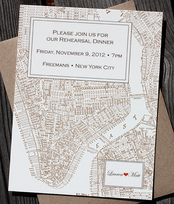 Lauren and Matt: Liberty View rehearsal dinner invite, digitally printed in espresso, copper and persimmon with paper bag envelope from PostScript Brooklyn