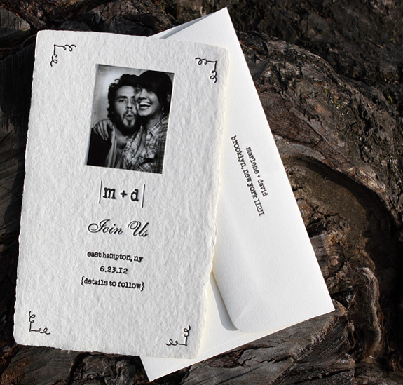 Marlene and David: letterpressed save the date with mounted photo booth photo
