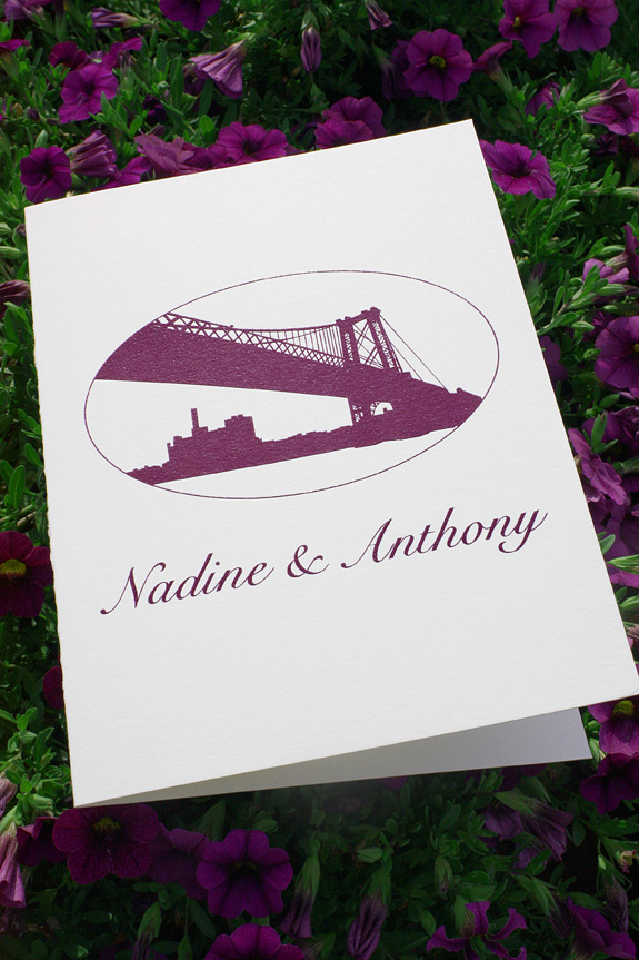 Nadine and Anthony:  dual language wedding ceremony program with custom Williamsburg Bridge design