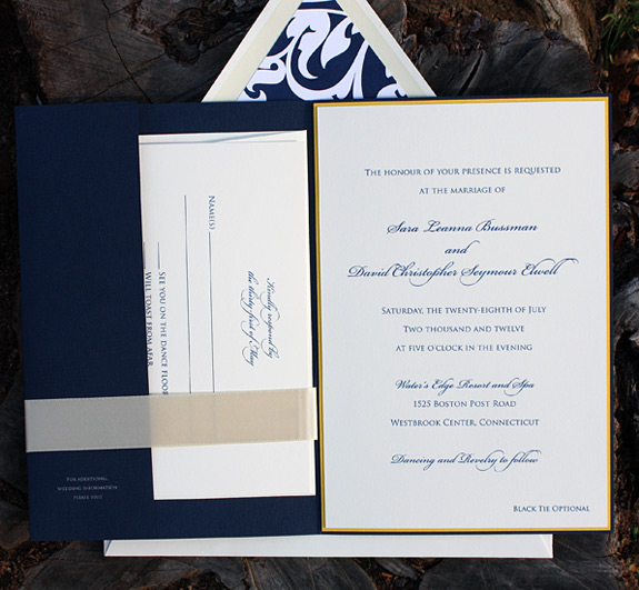 Sara and David: layered invite with pocket folder and satin ribbon