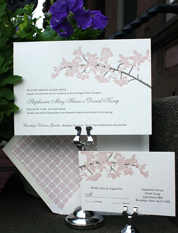 Stephanie and David: 2 color letterpressed cherry blossom branches and patterned liner