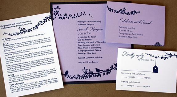Sarah: Gramercy Park Bat Mitzvah invitation {custom} with square invitation and navy backer
