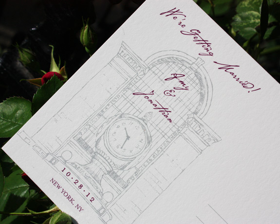 Amy and Jonathan: Grand Central save the date postcard, digitally printed in eggplant and pewter inks