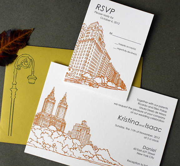 Kristina and Isaac: San Remo, digitally printed in charcoal and pumpkin inks with curry envelope