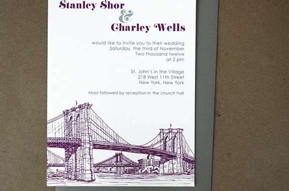 Stanley and Charley: Seaport, digitally printed in eggplant and charcoal inks with gravel envelope