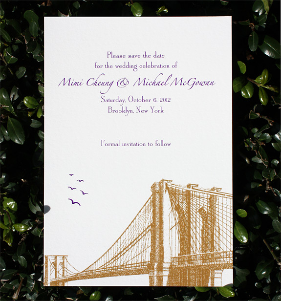 Mimi and Michael: Vinegar Hill save the date digitally printed in eggplant and copper inks