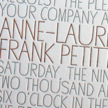 Anne-Laure and Frank: font-centric 2 color letterpress on 2 ply paper