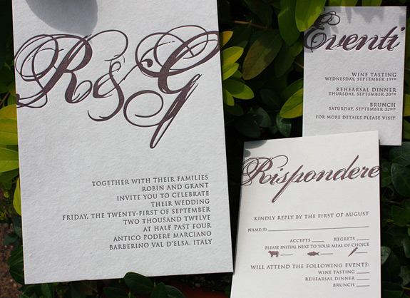 Robin and Grant: grey handmade paper letterpressed in plum with calligraphic monogram