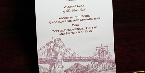 Crystal and John: Seaport menu digitally printed in lavender and chocolate