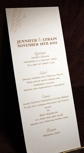 Jennifer and Efrain: Come Fly with Me menu