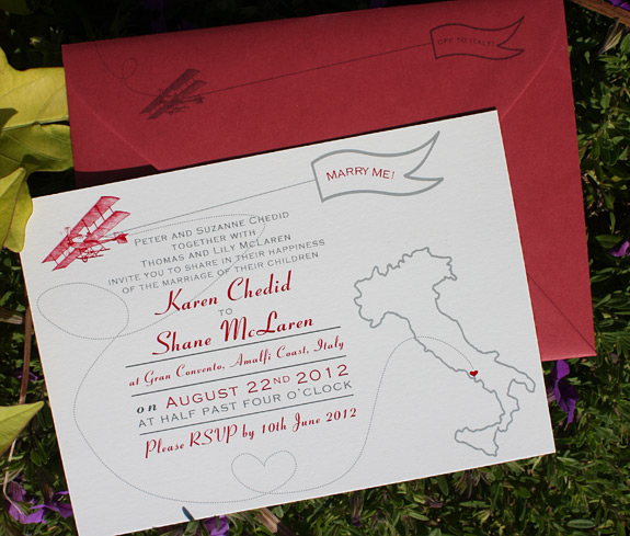 Karen and Shane: Come Fly with Me, digitally printed in charcoal, pewter and cranberry with red envelope