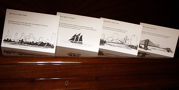 Shannon and Tyler: food cards featuring Pearl Street  and custom illustrations of Rochester, Buffalo and Key West, printed in rosé and black ink