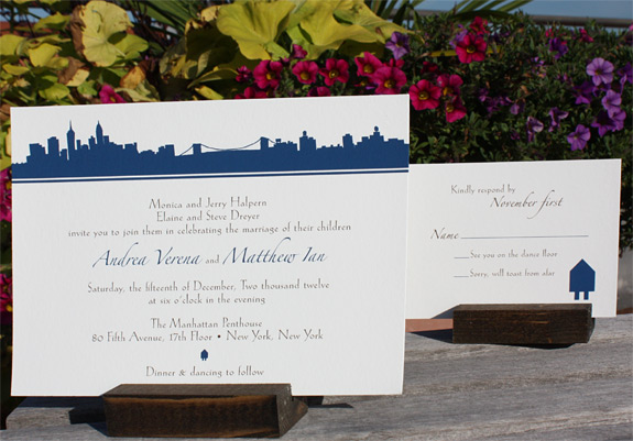 Andrea and Matthew: Riverside Drive, digitally printed in espresso and navy inks