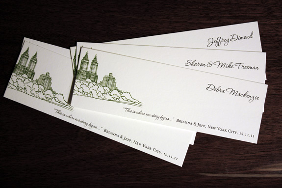 Brianna and Jeff:  San Remo bookmark/place cards digitally printed in moss and black