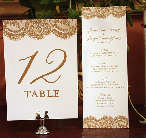 Jenna and Joseph: Sutton Place table number and menu