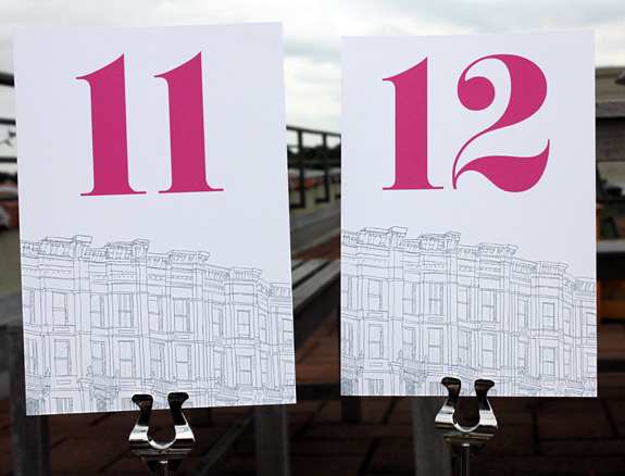 Third Street: table numbers digitally printed in pewter and magenta