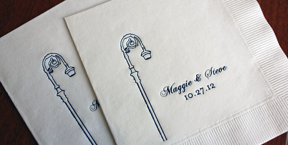 Maggie and Steve: York Street cocktail napkins, navy foil stamped
