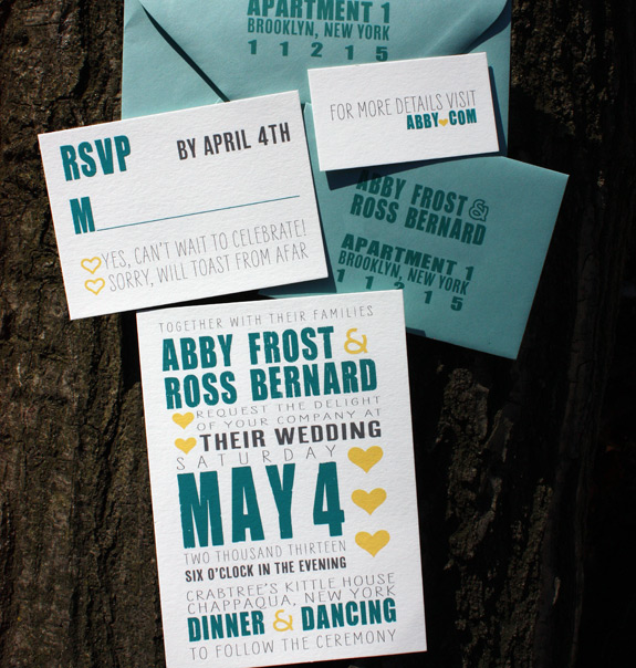 Abby and Ross: custom sweet and modern invitation suite