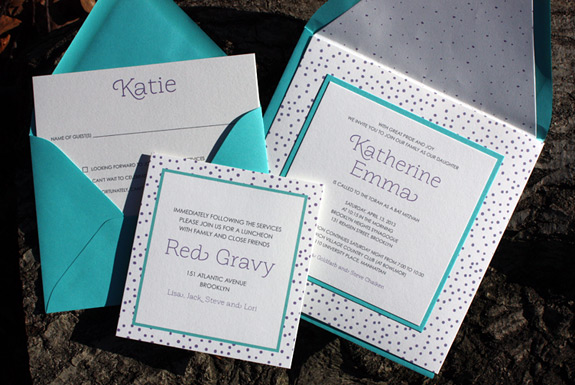 Emma: cute, layered festive Bat Mitzvah invitation in turquoise and purple with matching liner