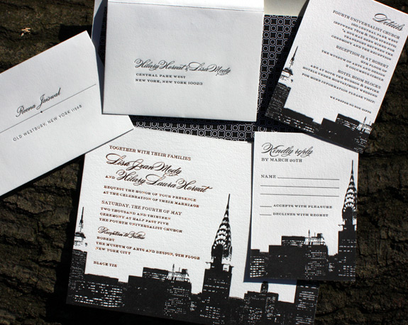 Lisa and Hilary: NYC skyline with foil stamping