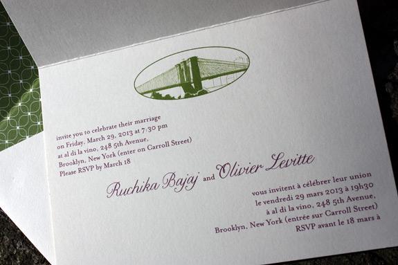 Ruchika and Olivier: multi-language custom PostScript Brooklyn folded invitation, digitally printed with liner