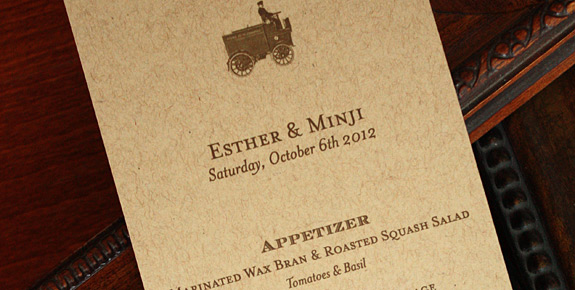 Esther and Minji: Vinegar Hill menu, digitally printed in espresso ink on paper bag card stock