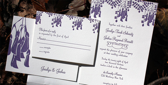 Jocelyn and Joshua: Montgomery Place {custom} letterpress printed in custom plum ink