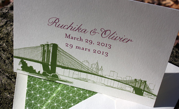 Ruchika and Olivier: Pearl Street {custom} multi-language PostScript Brooklyn folded invitation, digitally printed in moss and eggplant with patterned liner