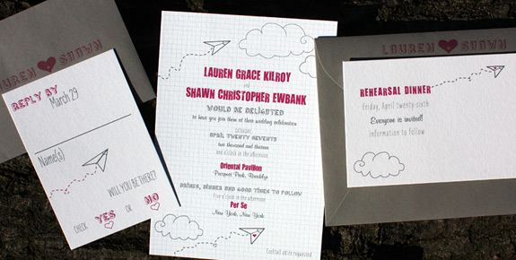 Lauren and Shawn: PS 232 digitally printed in magenta, light blue, and charcoal with gravel envelopes