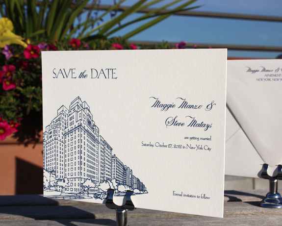 Maggie and Steve: San Remo save the date digitally printed in navy