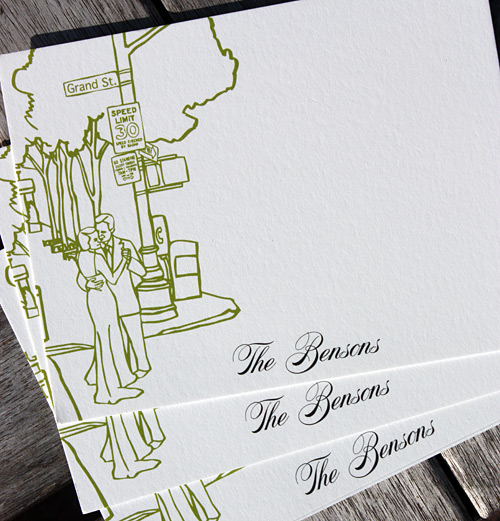 The Bensons: San Remo thank you cards, digitally printed in willow and black ink