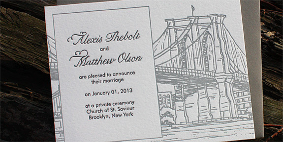 Alexis and Matthew: Seaport announcement letterpress printed in black and pewter with gravel envelope