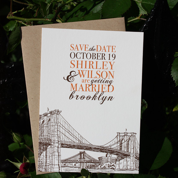 Shirley and Wilson: Seaport save the date, digitally printed in pumpkin and espresso inks with paper bag envelope