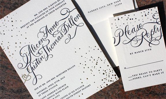 Alicen and Justin: confetti and calligraphy style letterpress invitation on cotton paper