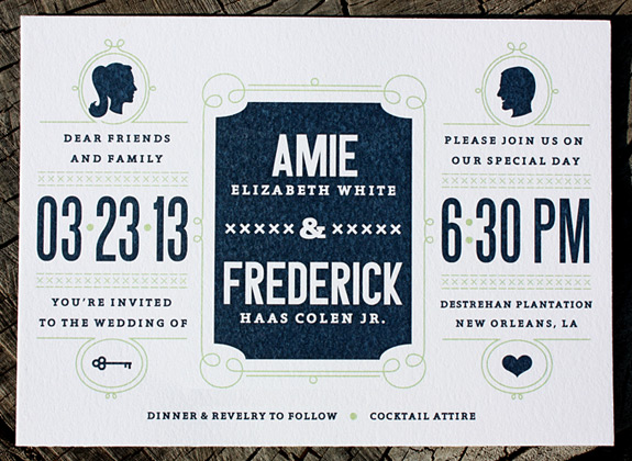 Amie and Frederick: wedding invitation featuring silhouettes, vintage inspired