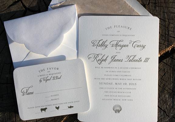 Ashley and Ralph: thermography printed in taupe with a romantic beach theme and sand inspired liner in a die cut envelope