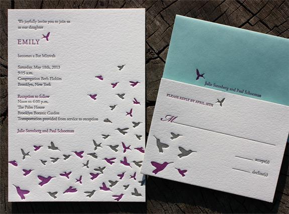 Emily: letterpressed Bat Mitzvah invitation featuring migrating birds