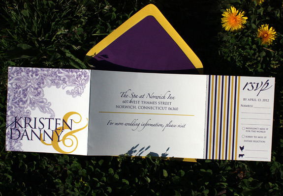 Kristen and Danny: digitally printed trifold invitation with rip off reply card and lace design