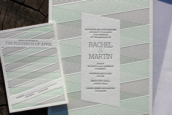 Rachel and Martin: modern optical pattern letterpressed on duplex cotton card stock with neon green edging