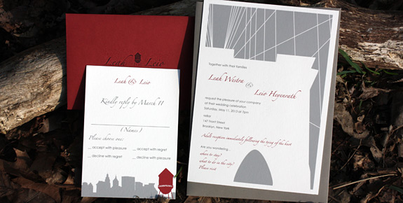 Leah and Leio: Fulton Street and Montague Street - Apt. W, digitally printed in cranberry, pewter and charcoal inks with red and gravel envelopes